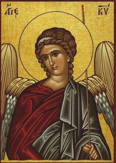 Greek Orthodox icons of Angels Byzantine Icons, Byzantine Art, Religious Icons, Religious Art, Greek Icons, Archangel Raphael, Raphael Angel, Paint Icon, Creativity Exercises