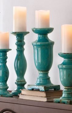 Set of Two Pedestal Ceramic Candlesticks.