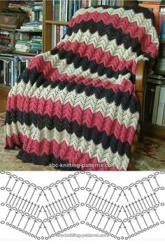 Free V-Stitch Crochet Ripple Afghan Pattern Crochet Diagram, Crochet Chart, Knit Or Crochet, Free Crochet, Zig Zag Crochet, Crochet Flower, Double Crochet, Free Knitting, Baby Knitting