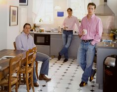 "All photos © Tina Barney/Janet Borden Inc. Above: ""The Brothers in the Kitchen, 2004″ from ""The Europeans."""