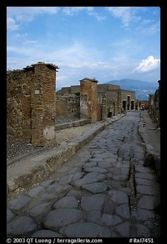 Paved street and ruins. Pompeii, Campania, Italy (color)