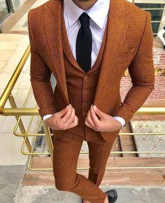 men suits grey -- Click visit link above for more info Brown Suits For Men, Best Suits For Men, Blue Suit Men, Cool Suits, Mens Suits, Orange Suit, Blazer Outfits Men, Suit Combinations, Designer Suits For Men