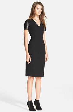 Burberry London Leather Sleeve Sheath Dress available at #Nordstrom