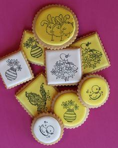 decoradas galletas de Pascua, Julia M ujier, estampado de goma galletas