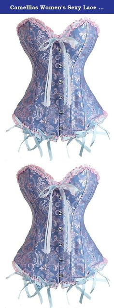 Camellias Women's Sexy Lace up Back Satin Boned Corset Bustier With G-string , SZ1070-Blue-4XL. Camellias is a trusted fashion brand for sexy lingerie, high quality waist training corsets and clubwear dresses. For waist training corsets, please use our own Size Chart rather than Amazon size guide, and choose the proper size based on your waist size . Feature : 1.Slimming boning for shaping and support 2.Lace up at the back 3.Easy access hook & eye front 4.Satin soft ribbon trim 5.Fantasy…