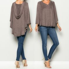 The Goddess of Wilderness. Artemis KnitHooded Top. Full sleeve. V-Neck. Free flowing like a poncho. High low hemline. Soft brushed knit. Available in Taupe or Charcoal. SML 95%Polyester 5%Spandex    FREE SHIPPING | Shop this product here: http://spreesy.com/blacqskirt/63 | Shop all of our products at http://spreesy.com/blacqskirt    | Pinterest selling powered by Spreesy.com