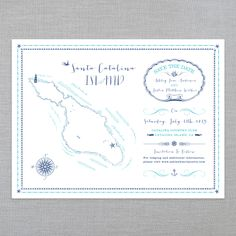 THE ILLUSTRATED ISLANDS • SAVE THE DATES • SANTA CATALINA ISLAND, CA: The Ice Cream Social Illustrated Island series is a beautiful tri-fold map inspired Save The Date, perfect for any coastal themed wedding! Available in many other locations.