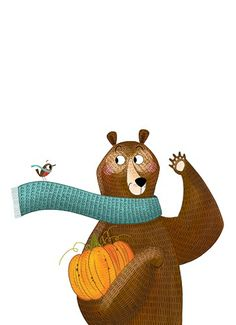 Ashley King Illustration - ashley, king, ashley king, illustrator, fiction, picture book, mass market, young reader, YA, coloured crayon, colour, black line, mark making, block colour, felt tip, animals, bear, bird, scarves, autumn, halloween, pumpkin, cold, cute, sweet, funny, humour
