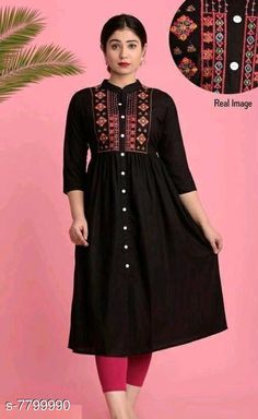 Kurtis & Kurtas Women's Embroidered Black Rayon Kurti Fabric: Rayon Sleeve Length: Three-Quarter Sleeves Pattern: Embroidered Combo of: Single Sizes: XL (Bust Size: 40 in Size Length: 48 in)  L (Bust Size: 38 in Size Length: 48 in)  M (Bust Size: 36 in Size Length: 48 in)  XXL (Bust Size: 42 in Size Length: 48 in)  Country of Origin: India Sizes Available: S, M, L, XL, XXL, XXXL   Catalog Rating: ★4.2 (460)  Catalog Name: Adrika Alluring Kurtis CatalogID_1275152 C74-SC1001 Code: 904-7799990-