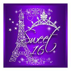 Purple Sweet 16 Sweet Sixteen Eiffel Tower Custom Invitations from Zizzago.com