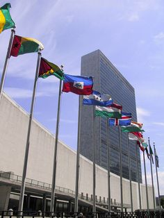 NYC. Line of National Flags in front of the UN Headquarters in Manhattan.