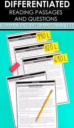 Summarizing Informational Text - Reading Comprehension Passages and Questions - Your upper elementary students will greatly benefit from this differentiated download. You get materials to summarize nonfiction passages in your 3rd, 4th, 5th, or 6th grade classroom or homeschool. There are three different leveled passages, graphic organiers, plus multiple choice or short answer questions. #InformationalText #Reading