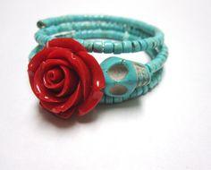 Sugar Skull Bracelet Day Of The Dead Wrap Red by sweetie2sweetie, $24.99