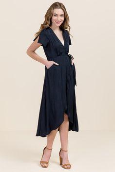 Maci Satin Wrap Maxi Dress - navy-cl