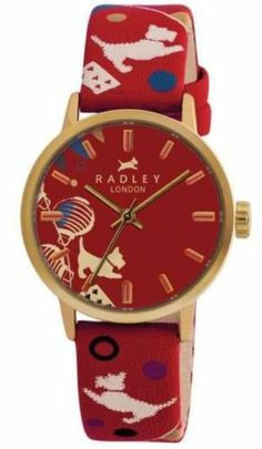 New! Radley Of London Red Circus Print leather strap Watch Rrp £65 Boxed!