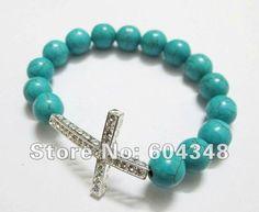 Turquoise / Sterling Silver Sideway Cross Bracelet , Rhinestone Honesty Crystal Beads Sideways Cross Shamballa Bracelets 10PCS on AliExpress.com. $16.99