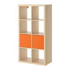 IKEA - KALLAX / DRÖNA, Shelving unit with 2 inserts, birch effect,