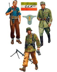 """Spring 1944: • Partisan, central Italy • Tenente, Guardia Nazionale Repubblicana, northern Italy • Schütze, Fallschirm Panzer Aufklärungs-Abteilung 'Hermann Göring', central Italy"", Peter Dennis"