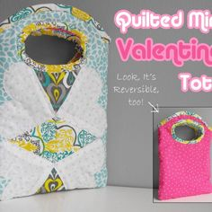 """Totally cute simple, reversible quilted mini tote. *Free pattern download and tutorial!* A perfect """"learn to sew"""" (and quilt) project for kids or those learning how to sew. It is big enough to tote your valentines or even your Kindle or Nook e-reader. Or a sandwich. :)"""