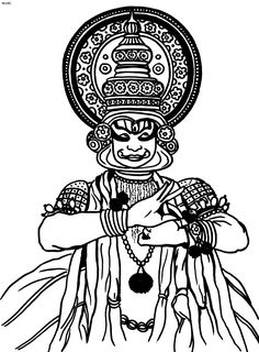 Folk Dances of India Coloring Pages, Indian Classical Kathakali Coloring Page, Folk Dances of India Coloring Book Art Forms Of India, India Art, Black Canvas Paintings, Indian Paintings, Kathakali Face, Phad Painting, Dancer Drawing, Kerala Mural Painting, Mandala Art Lesson