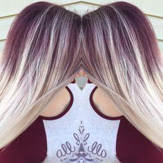 Purple shadow roots HAIR Hair, Blonde hair with roots Silver Hair Toner, Cabelo Ombre Hair, Blonde Hair With Roots, Midnight Blue Hair, Shadow Roots, Hair Color And Cut, Hair Highlights, Fall Hair, Purple Hair