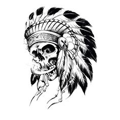 A compass is an instrument that has accompanied the history of mankind. These little dials have helped sailors and soldiers find their ways for thousands of years. Indian Headdress Tattoo, Indian Skull Tattoos, Native American Tattoos, Native Tattoos, Sketch Tattoo Design, Tattoo Sleeve Designs, Tattoo Caveira, Tattoo Stencils, Skull Art