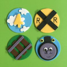12 Thomas the Train Cupcake Toppers-Fondant Thomas Birthday Cakes, 3rd Birthday, Fondant Toppers, Cupcake Toppers, Thomas Cupcakes, Train Cupcakes, Cake Shapes, Train Party, Character Cakes