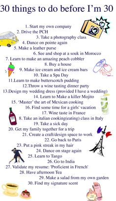 I better get busy! It's a great thing this isn't my To Do list Before I'm 30 seeing how the BIG will be here soon! 30 Things To Do Before 30, 30 Before 30 List, Comfort Zone Challenge, Out Of Comfort Zone, Bored Jar, Dream Journal, 26th Birthday, Milestone Birthdays, Photography Classes