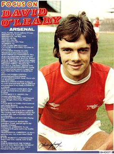 Focus On with David O'Leary of Arsenal with Shoot! magazine in 1980.