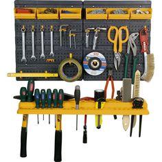 Garage Tool Rack Wall Kit Mini Storage Tools Organizer Home - 19 Hooks & 6 Bins: Amazon.co.uk: DIY & Tools