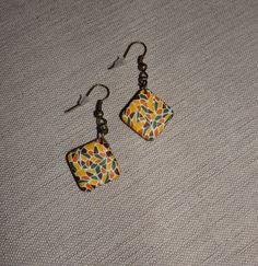 Boucles d'oreilles carrées mosaïques couleurs vives