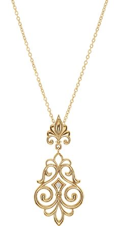Pendant necklace in 14k gold from the Arabesque collection with 0.03 ct. t.w. diamonds, $670; Stuller at JCK Las Vegas booth No. B6265 and Plumb Club 850