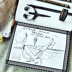 Day 15 inktober2016 *relax* • Das kann ich am besten beim Zeichnen! Und einem Glas Wein! Abends natürlich! Heute mal Versuch eines Selbstportraits, so kurz nach dem Urlaub! Scheint schon wieder so lange her... was relaxt Euch denn so?  #relax #wine #instawine #winemoment #entspannung  #sea #meer #selfportrait  #doodleinspiration #drawingoftheday  #inking #drawing #drawingoftheday #drawingchallenge  #drawinginspiration #tinte #micronpen @inktober #sketchnotesbydiana #letteringchallenge…