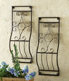 Set Of 2 Small Decorative Garden Metal Wall Trellis Scrolled Outdoor Wall Art