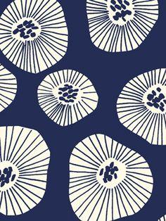 Moira Deep Indigo Fabric by Lotta Jansdotter