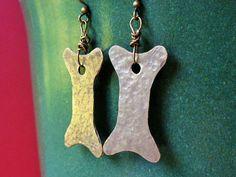 Dog Biscuit Earrings  Rustic Bronze Dog Bone by AtoriaStudios, $12.00