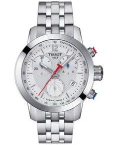 Tissot Women's Swiss Chronograph Nba Prc 200 Stainless Steel Bracelet Watch 35mm T0552171101700 - Silver
