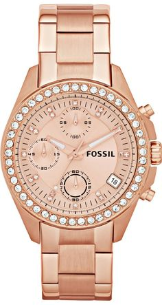 Fossil Decker Chronograph Rose Dial Rose Gold-tone Bracelet Ladies Watch - WATCH on InStores Stainless Steel Jewelry, Stainless Steel Watch, Fossil Watches, Women's Watches, Analog Watches, Rose Gold Watches, Bracelet Watch, Jewelry Watches, Sport Watches