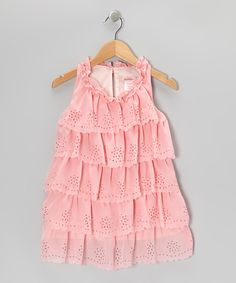Pink Cutout Ruffle Dress - Toddler & Girls