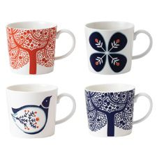 Royal Doulton Fable Set Of 4 Accent Mugs
