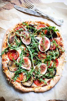 Fig, tomato, arugula & eggplant pizza.