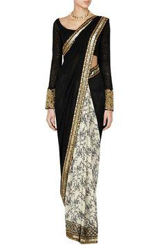 Sarees, Sarees, Clothing, Carma, Ivory and black sequin border floral printed…