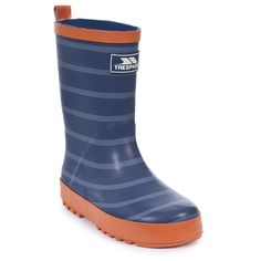 KIDS BLUE RUBBER SCHOOL RAIN CAMP BEACH FIELD PULL ON HANDLE COMFY SOFT WELLY