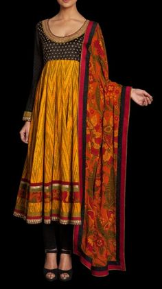 Black and yellow cotton salwar with floral duppata by Ritu Kumar