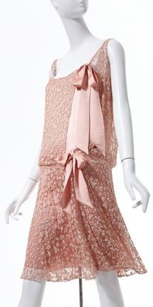 Chanel Dress - 1925 - House of Chanel - Design by Gabrielle 'Coco' Chanel (French, 1883-1971) - Crystal beads on lace, silk ribbon - Photo by Ken Howie - @~ Mlle