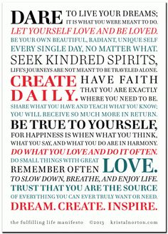 The Fulfilling Life Manifesto. CLICK for a FREE printable version!