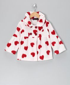 Take a look at this Giovanni White & Red Heart Polar Fleece Jacket by Giovanni on #zulily today!