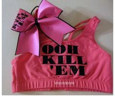 Ooh kill em cotton sports bra and bow set cheerleading cheer ♡. Cheer Practice Outfits, Cheer Outfits, Cheerleading Outfits, Sport Outfits, Girl Outfits, Cheer Clothes, Dance Outfits, Cheer Sports Bras, Cotton Sports Bra