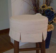 Box Pleat Canvas Barstool Slipcover Bar Stool by AppleCatDesigns