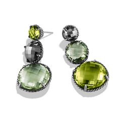 Châtelaine® earrings with olive quartz, prasiolite, and hematine.